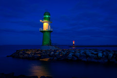 Lighthouse (Fleksa) Tags: sea lighthouse twilight fuji baltic hour ostsee blue x100s