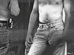 A beer and a jeans (Jean S..) Tags: blackandwhite bw male beer monochrome hair bottle day pants outdoor candid belly jeans streetphoto