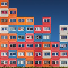 Pixels for Living (Paul Brouns) Tags: homes curtains details windows squares square sky blue abstract rhythm colors containers houses student street ndsm composition amsterdam paul brouns paulbrouns paulbrounscom wow brilliant