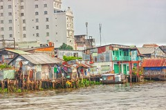 Floating Market: Pt 5-Houses On Water (dananguyen) Tags: houses canon river asia southeastasia vietnam hdr floatingmarket cantho 75mm canont3i