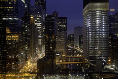 And the city's alive (aerojad) Tags: bridge winter chicago skyline skyscraper train construction cityscape cta skyscrapers tracks bridges bluehour theloop thel