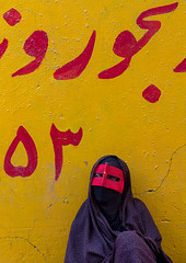 a bandari woman wearing the traditional mask called the burqa on a market, Hormozgan, Bandar Abbas, Iran (Eric Lafforgue) Tags: red portrait people woman yellow vertical outdoors persian clothing asia veil mask iran market muslim islam religion hijab persia hidden covered iranian bazaar calligraphy adults adultsonly oneperson islamic burqa ethnicity middleeastern persiangulf sunni bandarabbas burka chador balouch hormozgan onewomanonly lookingatcamera burqua  waistup  embroidering 1people  iro straitofhormuz  unrecognizableperson colourpicture  borqe boregheh iran034i1941
