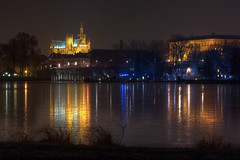 Metz : reflection on ice (Fabien Husslein) Tags: city winter france reflection ice saint night lanterne eau cathedral hiver plan reflet lorraine etienne tribunal nuit gel ville metz glace cathedrale moselle