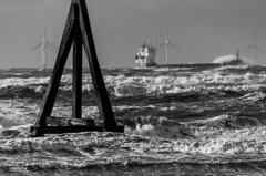 Sick bags at the ready (Carl Yeates) Tags: storm liverpool mono bay blackwhite waves ship