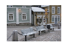 Three Benches (Pictures from the Ghost Garden) Tags: wood windows winter urban signs ice architecture buildings suomi finland landscape wooden nikon doors painted seats shops roadsigns lamps dslr benches porvoo urbanlandscape 18105mm d7100