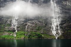 Lento Impeto d'Attrazione (Roberto -) Tags: sea mist reflection nature norway fog waterfall fjord norvegia fiordo cascate