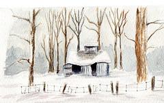 la cabane sous la neige (ybipbip) Tags: winter snow tree water watercolor paint arboles hiver nieve peinture hut watercolour neige acuarela arbre pintura cabane aquarela aquarell paintin acquerello akvarell