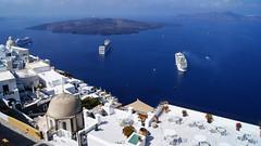 Impressive view (Steenjep) Tags: blue holiday port view santorini greece cruiseship havn ferie fira neakameni grækenland