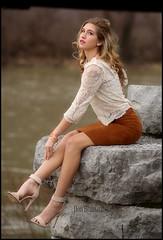 IMG_9546_Girl under the train bridge....Lovely (donaldbrainard1) Tags: woman girl beautiful fashion train canon river person photography model glamour rocks pretty legs gorgeous posing skirt teen 7d blonde heels lovely samantha seventeen glamorous chemung chemungriver eoshe flickrelite