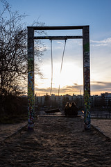 Swing in the Sun (lvpz) Tags: park city winter sunset people cold colour berlin sand swing mauerpark