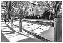 Winter Morn (Timothy Valentine) Tags: shadow blackandwhite snow fence us unitedstates massachusetts large friday hanson 0216 2016