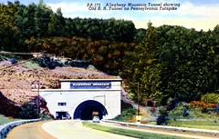 Allegheny Mountain Tunnel Showing Old R.R. Tunnel on Pennsylvania Turnpike PA (Edge and corner wear) Tags: road railroad vintage pc highway pennsylvania postcard rr tunnel system pa interstate turnpike americas superhighway