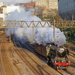 Late Arrival (McTumshie) Tags: england london train unitedkingdom transport railway steam nrm nationalrailwaymuseum steamtrain flyingscotsman steamlocomotive londonist 60103 571g 24february2016