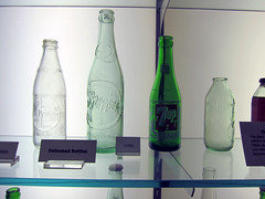 Dr Pepper bottles (pr0digie) Tags: green history glass museum factory waco bottles drpepper 1950s cans 7up debossed