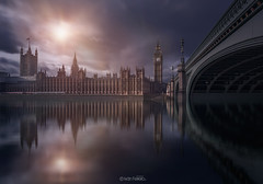 Houses of Parliament (Iván F.) Tags: city uk blue reflection london architecture night clouds sunrise wow big long exposure ben united kingdom parliament olympus londres british 28 ome zuiko 1240 em5 fsuro