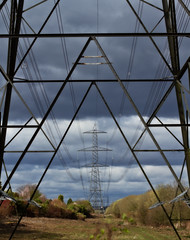 An electric storm coming. (S.K.1963) Tags: sky storm electric dark elements pylons