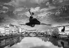 Jumping Between Worlds (jmhstang) Tags: italy ballet ball florence ballerina image overlay multiexposure