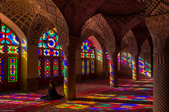 Nasir ol Molk Mosque - Shiraz, Iran (Capturing the Sensorial) Tags: camera morning travel pink iran culture stainedglass mosque backpacking backpack shiraz carpets islamic omd nasir omdem5