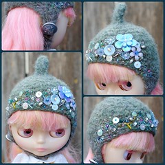 The Folklore Tonttu Helmet: Frost & Raindrops (Euro_Trash) Tags: flowers net felted beads shiny purple shaped embroidery buttons helmet sage website com slate knitted sparkly embellished eurotrash tonttu handmadeforneoblythe