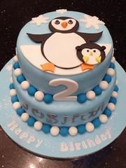 Penguin Birthday cake (Victorious_Sponge) Tags: birthday blue 2 boys cake penguin round tier