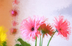 my kitchen flowers (Dotsy McCurly) Tags: pink flowers green kitchen colors yellow photoshop painting spring nikon dof bright filter adobe gerbera daisy d750 effect lightroom