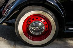 1951 MG Roadster  rear wheel (MyArtistSoul) Tags: red black car wheel vintage tire mg fender 1951 roadster td s100 0473