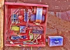 Disconnected (Helen Orozco) Tags: red photoshop colours purple wires wired disconnected electricalbox hss slidersunday