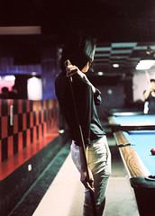 SML_160229_645_49 ( Sean Marc Lee ) Tags: film pool back cool hands arms kodak porta billiards gesture uniqlo pentax645nii carineroitfield