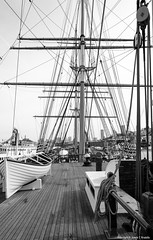 Lines on the Balclutha (jvradelis) Tags: sanfrancisco california blackandwhite usa monochrome outdoors boat nationalpark marine waterfront deck sanfranciscobay tallship rigging sailingship balclutha sanfranciscomaritimenationalhistoricalpark