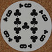 Round Playing Card 9 of Clubs
