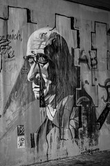 Melancholia in B/W (S. Ruehlow) Tags: graffiti frankfurt graffito brcke westhafen friedensbrcke gutleut gutleutviertel westhafengebiet