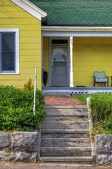 Yellow House with Porch (LarryHB) Tags: urban house yellow vertical landscape photography explore missouri hdr 2016 capegirardeaucounty