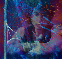 Tangled Up In Blue (virtually_supine popping in and out) Tags: blue face collage photomanipulation creative textures bobdylan montage layers digitalartwork oceanripple tangledupinblue hypomusicfestival photoshopelements913