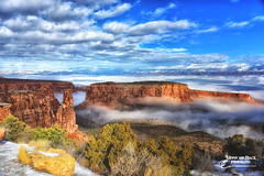 A RIVER OF FOG (Aspenbreeze) Tags: sky mountains nature weather fog rural colorado canyon valley redrocks grandjunction rockformations coloradonationalmonument grandjunctioncolorado aspenbreeze moonandbackphotography bevzuerlein