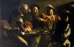 Caravaggio, Calling of St. Matthew, detail of table, 1599-1600