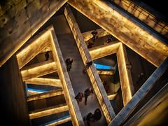Alabaster Path (creditflats) Tags: blue canada building museum modern stairs pen gold climb winnipeg glow darkness path walk olympus manitoba route journey walkway escher humanrights labyrinth zuiko alabaster asper primelens ep5