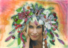 Summertime (KrasArts - Fly Me To The Moon) Tags: pink red summer orange woman sun hot green girl beautiful smile leaves fruit lady hair paper leaf mixed artwork pretty mixedmedia vivid crown summertime mixmedia