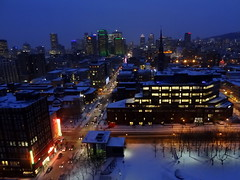 View of downtown Montreal at dusk (chibeba) Tags: city winter vacation urban holiday canada twilight downtown view montral quebec dusk montreal january panoramic northamerica qc 2016 citybreak