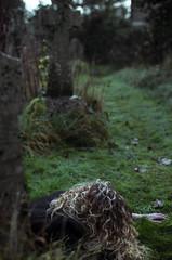Hiding myself and seeking you II (FlaviaCatena) Tags: england colors girl cemetery grave nikon ground blonde curlyhair cimitero