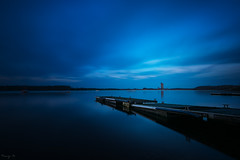 Steel Blue (Tony N.) Tags: longexposure sky lake water clouds boats pier eau europe belgium belgique lac bateaux ciel bluehour nuage extrieur pontoon ponton vanguard fil thebluehour poselongue heurebleue d810 froidchapelle tonyn lacdeleaudheure lacdelaplatetaille nikkor1635f4 tonynunkovics