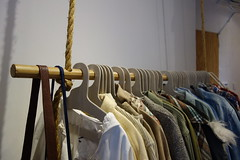 Paperboard Hangers (Heath & the B.L.T. boys) Tags: closet giftshop diy cardboard rope