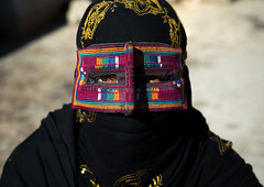 a bandari woman wearing the traditional mask called the burqa on a market, Hormozgan, Bandar Abbas, Iran (Eric Lafforgue) Tags: portrait people woman horizontal outdoors gold golden persian clothing asia veil mask iran market muslim islam religion hijab persia headshot hidden covered iranian bazaar adults adultsonly oneperson islamic burqa ethnicity middleeastern frontview persiangulf sunni bandarabbas burka chador youngadultwoman balouch hormozgan onewomanonly lookingatcamera burqua   embroidering 1people  iro straitofhormuz  colourpicture  borqe iran034i1814 boregheh