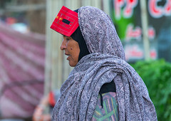 a bandari woman wearing a traditional mask called the burqa at panjshambe bazar thursday market, Hormozgan, Minab, Iran (Eric Lafforgue) Tags: red people woman horizontal outdoors persian clothing asia veil mask iran muslim islam religion hijab culture persia hidden covered iranian bazaar adults adultsonly oneperson traditionaldress burqa customs ethnicity middleeastern sunni burka chador balouch hormozgan onewomanonly burqua  bandari  embroidering 1people  iro thursdaymarket  minab colourpicture  borqe panjshambebazar boregheh iran034i2587