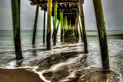 Down Under (OksiesWorld) Tags: ocean sea sky green beach water clouds outside pier waves outdoor virginiabeach beams hdr denoise topazlabs topazadjust