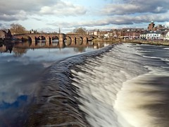River Nith at the White Sands in Dumfries (penlea1954) Tags: old uk bridge white lady speed john river scotland king slow dam bridges shutter sands oldest balliol weir dumfries galloway nith caul devorgilla