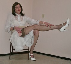Long legs in nylons. (sabine57) Tags: stockings drag tv pumps highheels cd skirt crossdressing blouse tgirl transgender tranny transvestite crossdresser crossdress petticoat nylons travestie transvestism