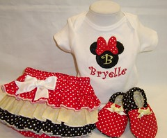 Minnie Personalize Baby Set (Sew Little Ones) Tags: red baby babygirl minniemouse babyshower babybooties personalize yellowandblack babygift diapercover babyshowergift cribshoes babyset babygiftset rufflediapercover personalizegifts personalizeonesie minnieonesie personalizebabygift