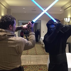 At #GalaxyFest you never know when a lightsaber battle will break out in the hallway! / on Instagram https://www.instagram.com/p/BB_j_kEMmo7/