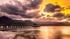 FUJI5090 (capturedbyflo) Tags: ocean sunset seascape water clouds landscape hawaii bay pier fuji kauai fujifilm hanalei