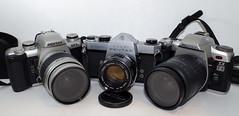 Pentax Trio (OldChE) Tags: pentaxzx5n vintagecameras asahipentaxspotmatic pentaxzxl pentaxk50 smcpentaxdal1855mmf3556alwr